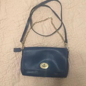 Coach blue leather bag